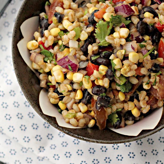 corn-avocado salad with black beans and barley