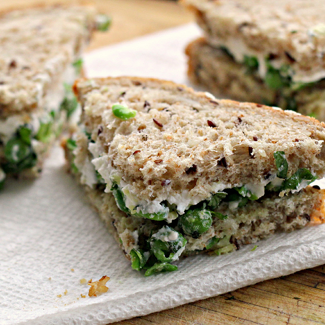 gingered pea tea sandwiches with ricotta