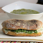 green goddess soup, pesto mozzarella grilled cheese