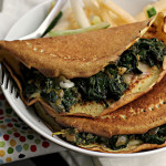 Masa Crepes with Chard, Chile and Cilantro