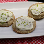 Lime Tarragon Cookies with White Chocolate Topping