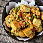 Paneer with Peas, Cauliflower and Tomato-Chili Sauce