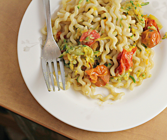 summer fusilli and zucchini with heirloom tomatoes