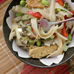 Tempeh Lo Mein with Bell Pepper, Edamame and Scallions
