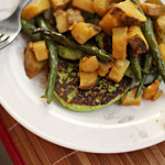 Edamame Cakes with Roasted Sweet Potatoes and Green Beans {food matters project}