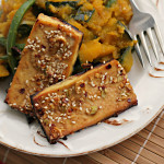 Asian Sesame Tofu with Braised Winter Squash and Green Beans