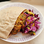 Curried Red Lentil Burgers with Mango Slaw