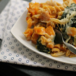 {Vegetarian} Bacon and Butternut Pasta with Caramelized Onions and Kale