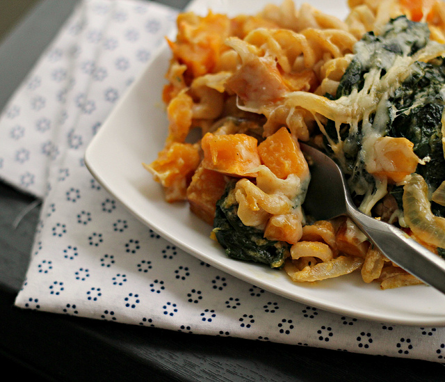vegetarian bacon and butternut squash pasta with gruyere and kale