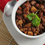 bean chili with pecans and chocolate