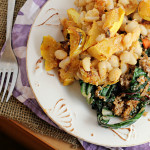 Miso Harissa Delicata Squash and White Bean Salad with Swiss Chard Sesame Bulgur