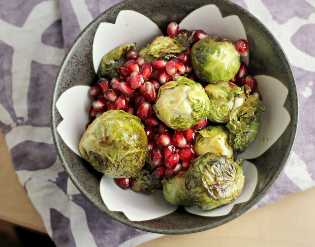 roasted brussels sprouts with pomegranates