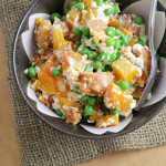 Whole Wheat Carrot Gnocchi with Peas, Butternut Squash, and Ricotta {the food matters project}