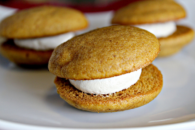 pumpkin whoopie pies with maple marshmallow cream filling