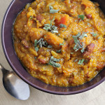 Tuscan Bean and Wheatberry Soup with Cabbage and Winter Squash