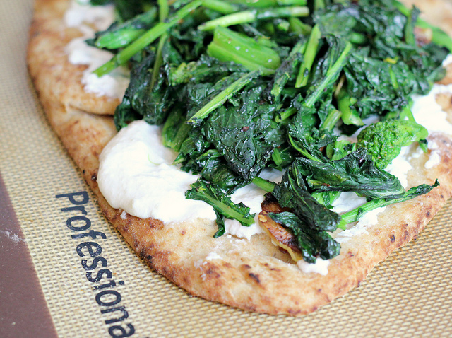flatbread pizza with broccoli rabe and ricotta