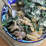 Pasta with Black Kale, Caramelized Onions and Parsnips {GIVEAWAY + eat.live.be}