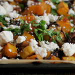Pomegranate-Glazed Eggplant with Tempeh, Butternut Squash, and Ricotta Salata