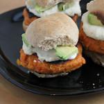 Smoky Sweet Potato Burgers with Roasted Garlic Cream and Avocado on Whole Wheat Sliders