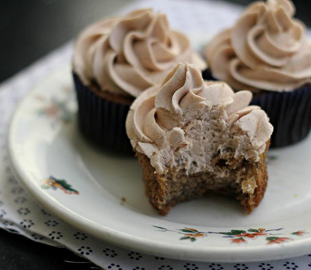 Banana Chocolate Chip Cupcakes with Bourbon Cinnamon Buttercream