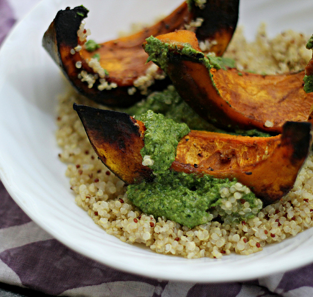 spice-roasted squash with walnut green harissa