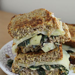 swiss chard and artichoke grilled cheese on millet bread