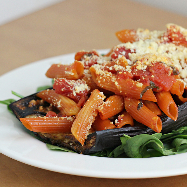 Baked Eggplant Stuffed with Pasta | Joanne Eats Well With Others