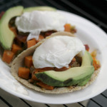 Chipotle-Sweet Potato Hash Tacos with Poached Eggs and Avocado
