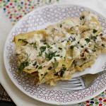 Cauliflower Enchiladas with Poblano Cream Sauce