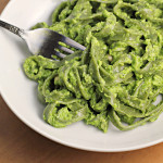 Fettuccine Tangle with Asparagus Puree