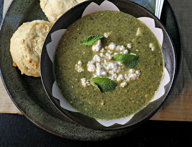 herb chard and feta soup with beer biscuits
