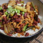 Spicy Adzuki Beans with Kimchi, Asparagus, and Stir-Fried Tempeh