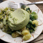 Asparagus and Leek Flan with Escarole and Potato Hash