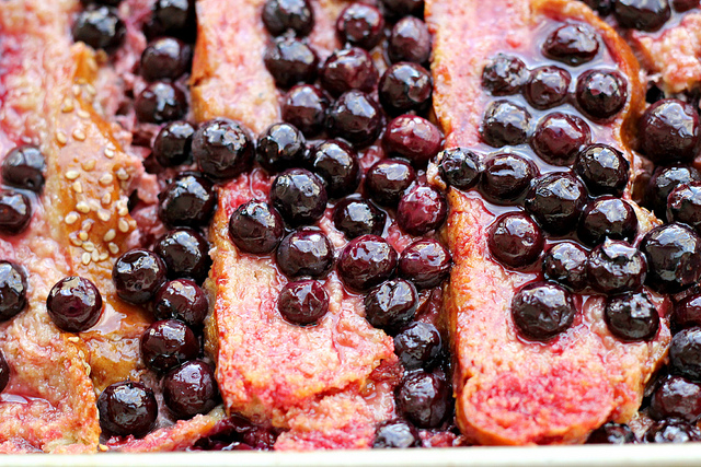 rhubarb, blueberry and ginger brioche bread pudding