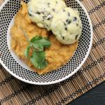 Black Olive Gougeres and Smoky Red Lentil Dip