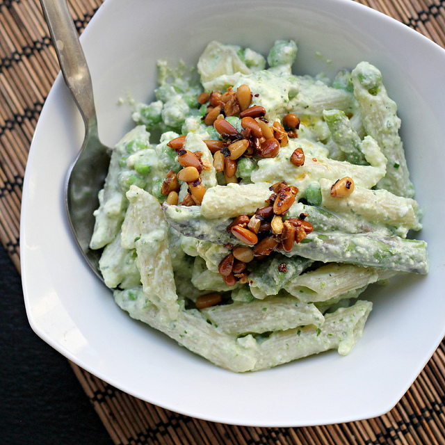 pasta with yogurt peas and chile