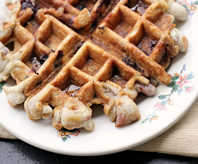 Cherry Almond Muffin Waffles