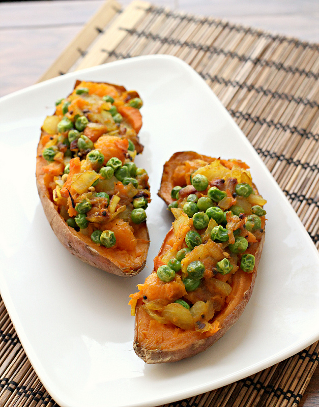 samosa-stuffed sweet potatoes