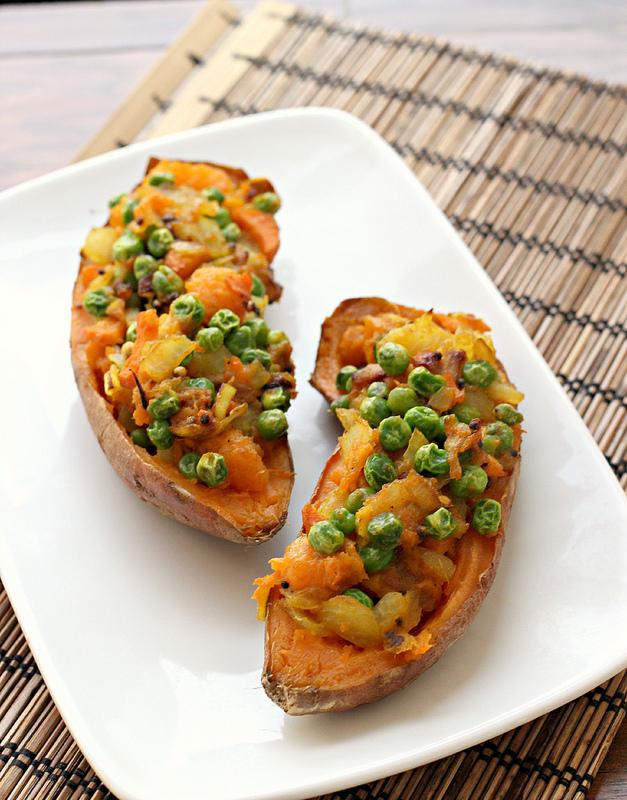 samosa-stuffed sweet potatoes