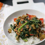 Eggplant, Red Pepper and Spinach Curry