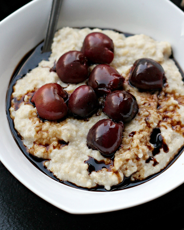 roasted cherries and cream oatmeal with balsamic drizzle