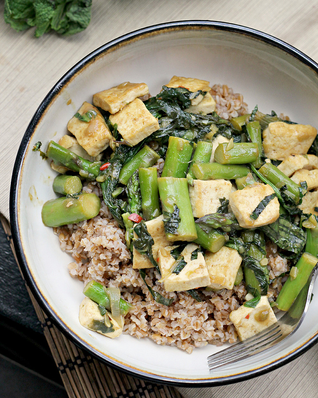 green-packed stir fry with fresh herbs
