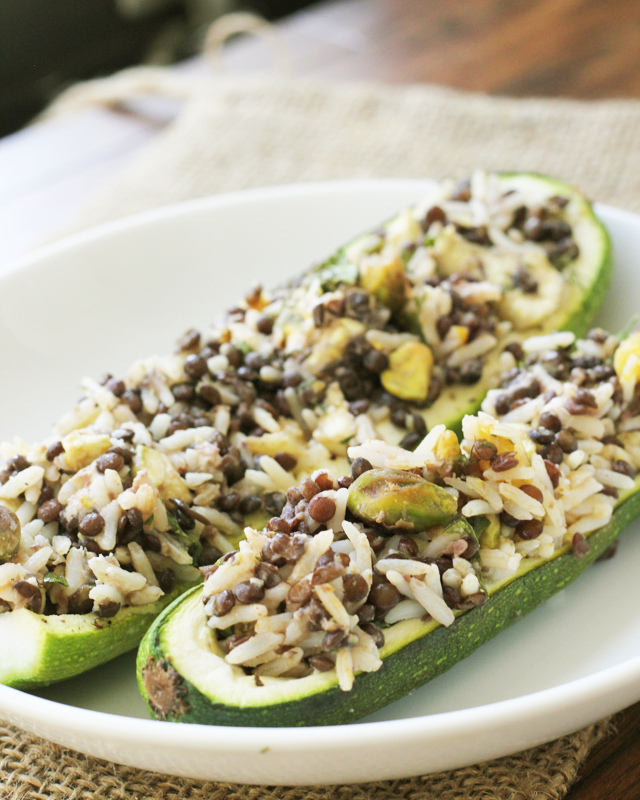 Stuffed Zucchini with Pistachios and Dill