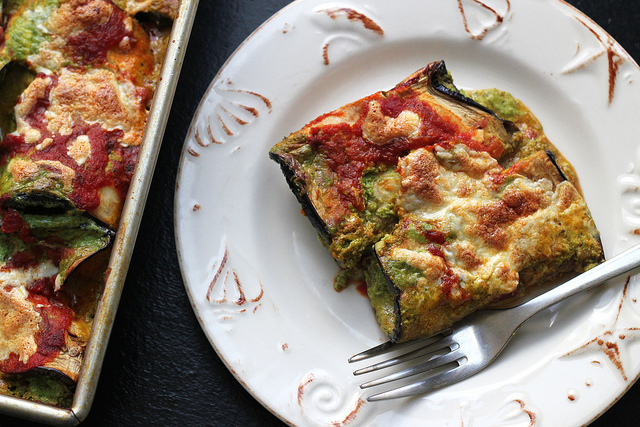 Eggplant Manicotti with Creamy Pesto Filling | Joanne Eats Well With Others