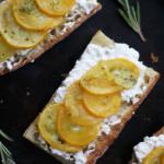 Summer Squash Tartines with Ricotta, Rosemary and Lemon