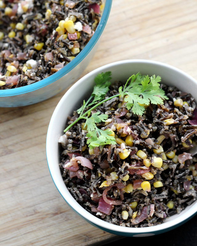 wild rice salad with charred corn, cumin-spiced pecans and feta