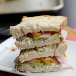 roasted zucchini, pepper, onion and goat cheese sandwiches