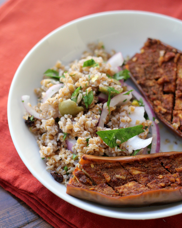 spiced eggplant with bulgur salad