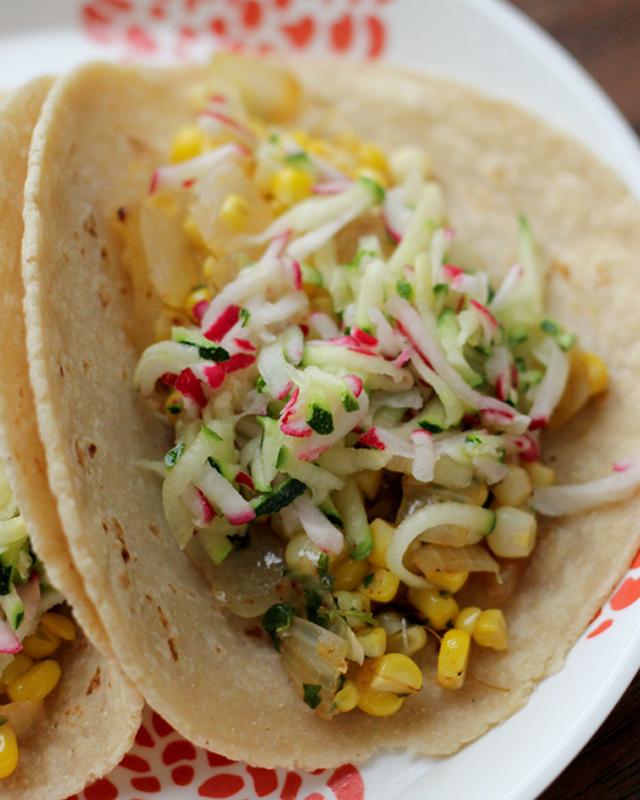tacos with corn and zucchini-radish slaw