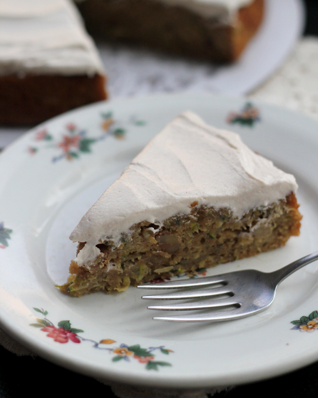 zucchini-walnut cake with cinnamon honey buttercream